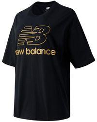 New Balance Femme Top à manches courtes NB Athletics Village Stacked Graphic - Noir