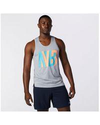 New Balance Hombre Printed Impact Run Singlet - Gris