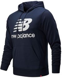 New Balance Essentials Stacked Logo Pullover Hoodie - Blue