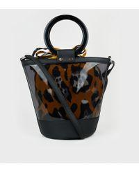 New Look Black Clear Leopard Print Bucket Bag