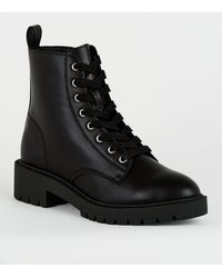New Look Girls Black Leather-look Lace Up Boots