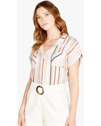 Apricot Off White Stripe Short Sleeve Shirt