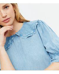 New Look Denim Frill Collar Puff Sleeve Top - Blue