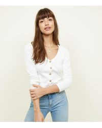 New Look - Off White V Neck Cropped Cardigan - Lyst