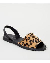 54562352e40 Stone Faux Leopard Fur 2 Part Flat Sandals - Brown