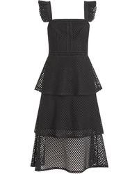 New Look - Black Fishnet Lace Tiered Midi Dress - Lyst