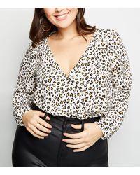 New Look Curves White Leopard Print Wrap Bodysuit