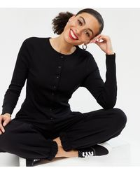 New Look - Black Jersey Button Up Crew Neck Cardigan - Lyst