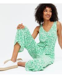 New Look - Tall Green Floral Tie Waist Crop Jumpsuit - Lyst