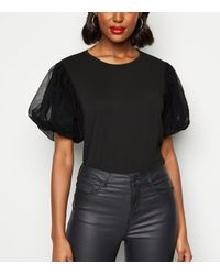 New Look Black Mesh Puff Sleeve Top