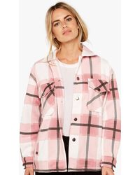 Apricot Pink Check Button Shacket