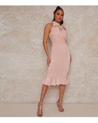 Chi Chi London Pink Lace Halter Midi Dress