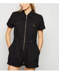 New Look Black Zip Front Denim Playsuit