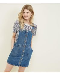 New Look - Petite Blue Button Front Denim Pinafore Dress - Lyst