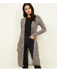 New Look Brown Leopard Print Longline Cardigan
