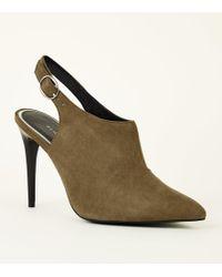 00d63a49f93 Khaki Suedette Slingback Stiletto Shoe Boots - Multicolour