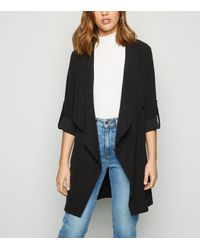 New Look Black Elasticated Waist Waterfall Duster Jacket