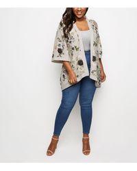 Mela Curves Floral Kimono New Look - Grey