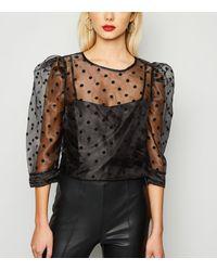 New Look Black Spot Organza Puff Sleeve Top