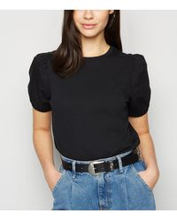 New Look Black Woven Puff Sleeve T-shirt