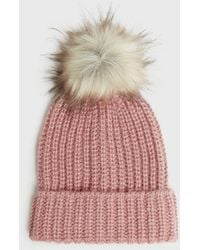 New Look Pink Ribbed Knit Faux Fur Bobble Hat