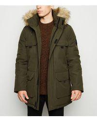 New Look Khaki Hooded Faux Fur Trim Parka Coat - Green