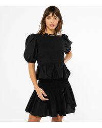 New Look - Black Shirred Puff Sleeve Peplum Top - Lyst