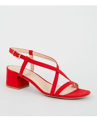 New Look Wide Fit Red Suedette Strappy Low Heel Sandals