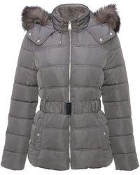 New Look Dark Grey Faux Fur Hood Fitted Puffer Jacket