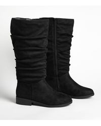 New Look Extra Calf Fit Black Slouch Knee High Flat Boots