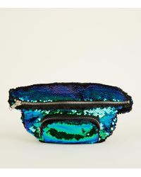 New Look - Blue And Black 2 Way Sequin Bum Bag - Lyst