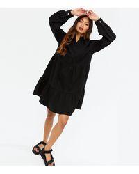 New Look - Black Denim Tiered Button Up Smock Dress - Lyst