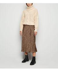 New Look Brown Bias Cut Satin Leopard Print Midi Skirt