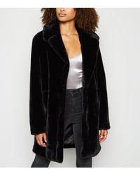 New Look Tall Black Faux Fur Coat
