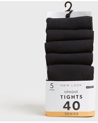 New Look 5 Pack Black Opaque 40 Denier Tights