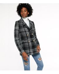 New Look Black Check Double Breasted Blazer