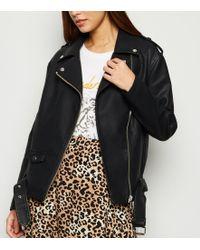 New Look Black Leather-look Oversized Biker Jacket