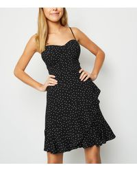New Look - Black Spot Bustier Frill Mini Dress - Lyst