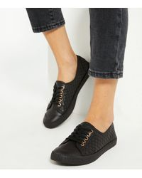New Look Black Quilted Leather-look Trainers