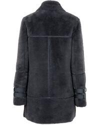 New Look Faux Fur Long Aviator Coat - Grey