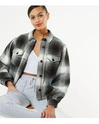 New Look Black Check Herringbone Boxy Crop Shacket