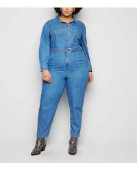 New Look Curves Blue Belted Denim Jumpsuit