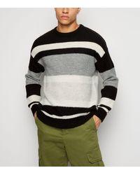 New Look Black Stripe Fluffy Knit Jumper