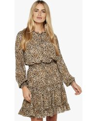 Apricot Stone Leopard Print Frill Mini Dress - Brown