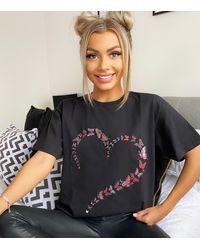 AX Paris Black Butterfly Heart T-shirt