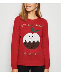 New Look Red Good In The Pud Christmas Jumper