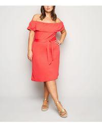 Vero Moda Curves Red Bardot Midi Dress