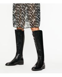 New Look Black Faux Croc Elasticated Knee High Boots
