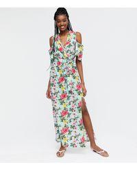 Mela Light Green Floral Cold Shoulder Maxi Dress