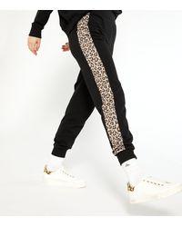 New Look Black Leopard Print Side Stripe Joggers